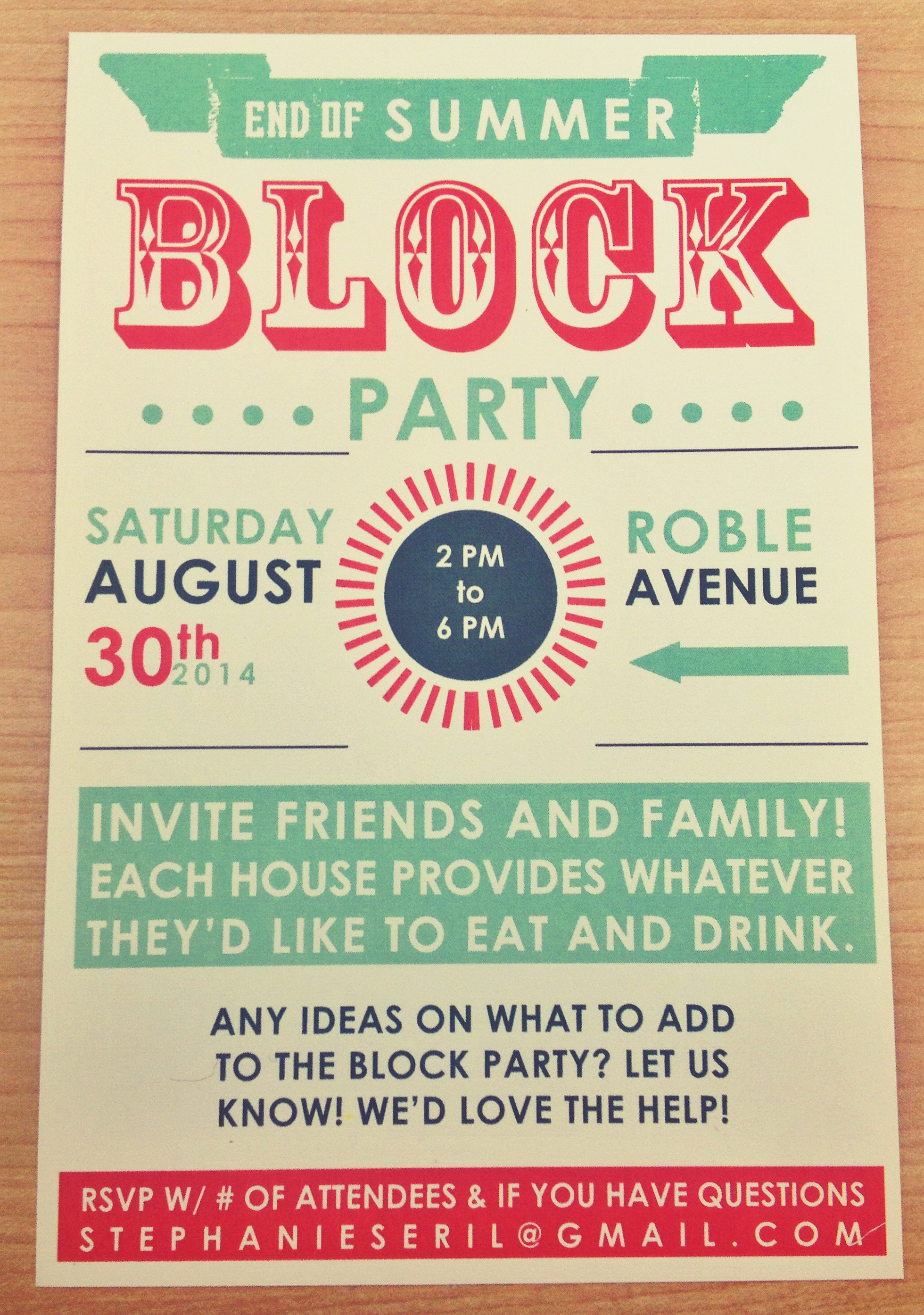 end of summer block party typography edition