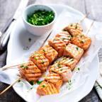 Wasabi Salmon Skewers